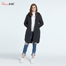 SheonDHF Women Parkas Long Hooded Cotton Padded Quilted Jacket Winter Female Slim Basic Jackets Wind Breaker Coats New Design