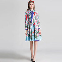 NIFROR European Fashion Women S Dresses 2018 High Quality Summer New Printing Lapel Long Sleeved Stitching