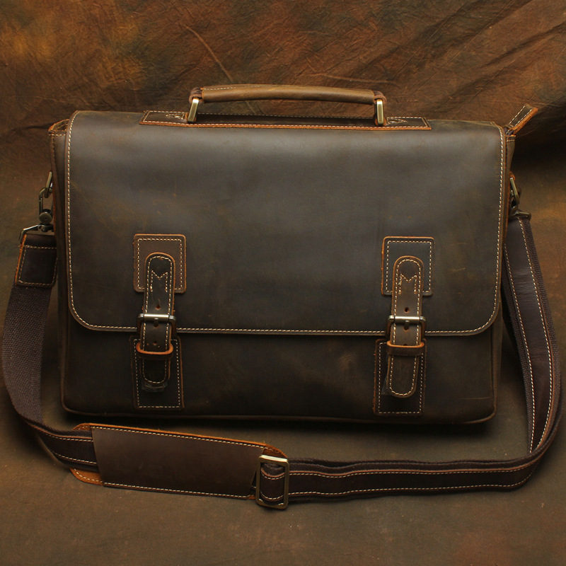 Nesitu Vintage Brown Genuine Leather Mens Office Bags Briefcase Crazy Horse Leather Messenger Bag 14'' Laptop Bags #M1052 lexeb brand lawyer briefcase vintage crazy horse leather men laptop bag 15 inches high quality office bags 42cm length brown