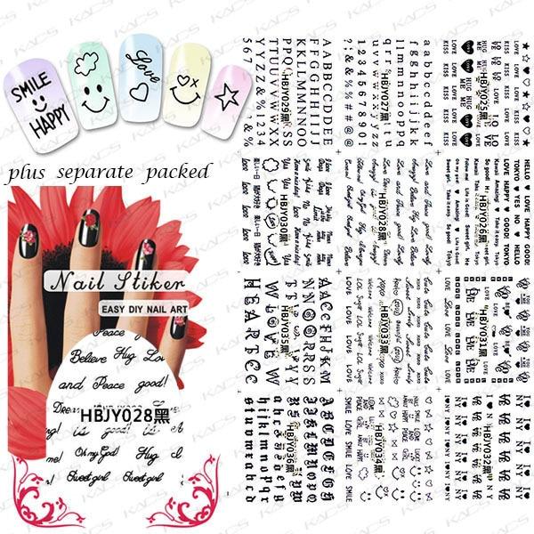 2015 NUEVO 50 Unids/lote 3D HBJY 073-084 Profesional de Manicura 3D etiqueta engomada letras Negras Princesa Ratón de Dibujos Animados Oso
