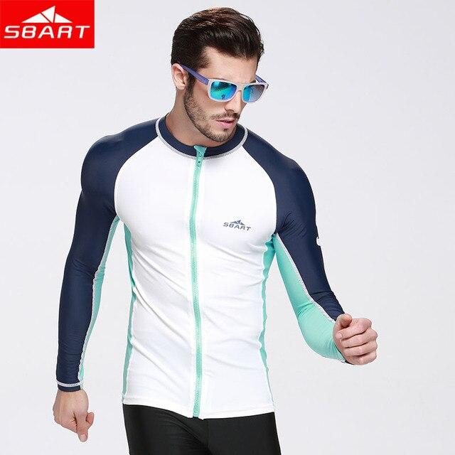 0c519abedab SBART Rash Guard Shirts With Zipper Sun Protection Swim Tops for Men Womens  Long Sleeve Rashguard Surfing Jacket Plus Size 3XL L