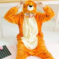 VANLED Unisex Adult Winter Cute Orange Tiger Pajamas 2017 Animal Pajama Sets Women Hooded Pyjama Overall