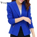TANGNEST Women OL Jackets Slim Solid Color 2017 Spring Autumn Office Jacket Long Sleeve Turn-Down Collar Chaquetas Mujer WWJ658