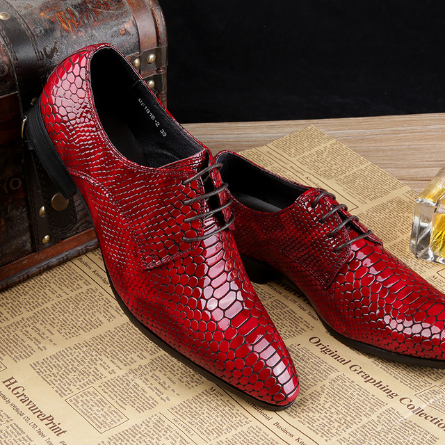 7ff3415923370 luxury italian brand wingtip oxfords men Genuine Leather black red  snakeskin shoes men Lace mens pointed toe dress shoes