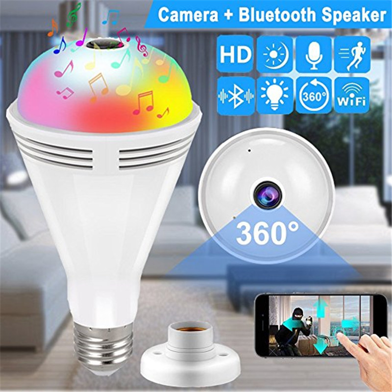 Security Camera 960P HD Bluetooth Music Speaker IP Camera 360 Panoramic video Night Vision Two-way Audio Motion Detection Indoor