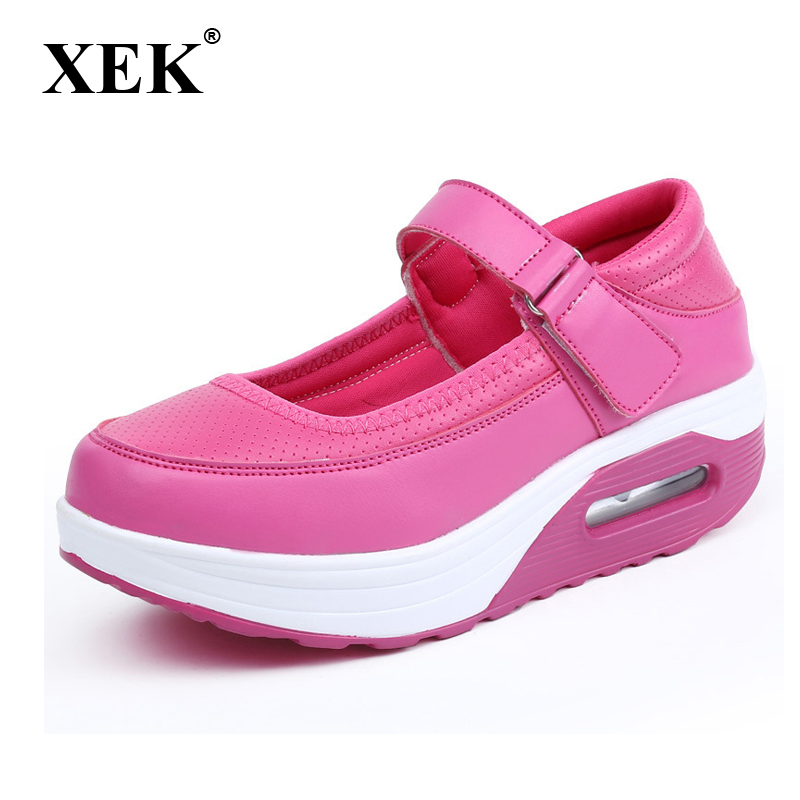XEK 2018 New Shake Shoes <font><b>Women</b></font> Swing Sneakers Breathable Casual Shoes Shallow Increased Wedges Shoes For <font><b>Women</b></font> Flats JH125 image