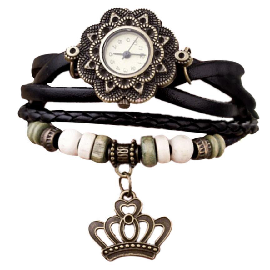 Superior Quartz Weave Around Leather Crown Bracelet Lady Woman Wrist Watch July 18 *