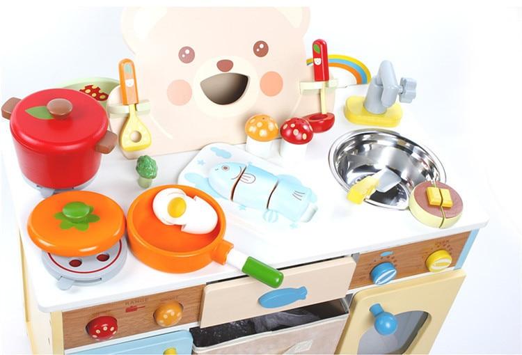 Baby toys cartoon bear kitchen set wooden toys japan for Kitchen set list