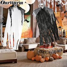 OurWarm 100*50cm Black White Ghost Decoration Hanging Halloween Horror House Creepy Skeleton Face Props DIY