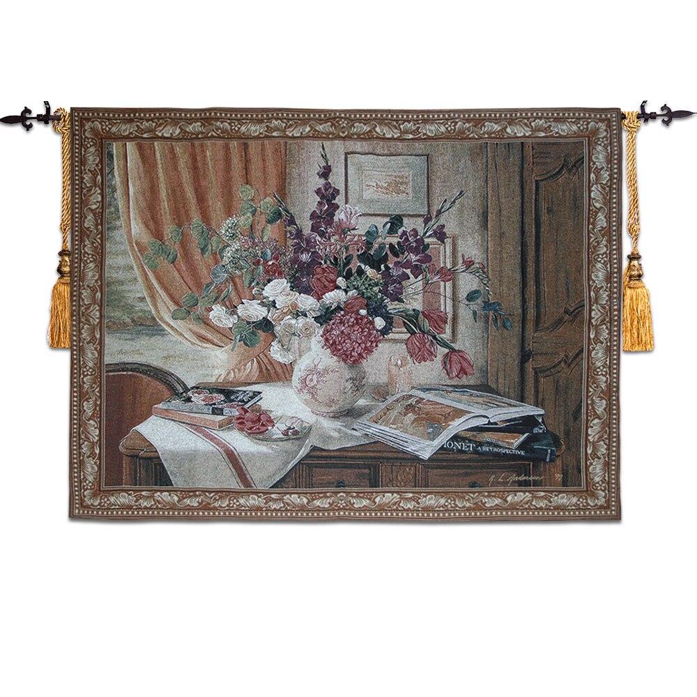 100*140 D'aubusson tenture tapisserie antique furnitur médiévale murale salon mur photo rose still life accueil tissu