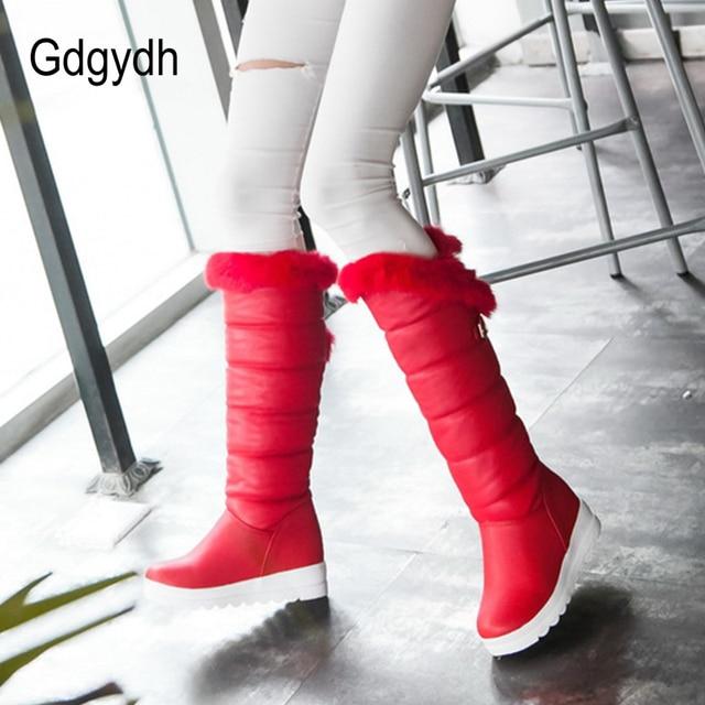 Gdgydh Diz Yüksek Çizmeler Kırmızı Kışlık Ayakkabılar Sıcak Kadın Kar Botları Yüksekliği Artan Toka Bayanlar Takozlar Peluş Artı Boyutu 42
