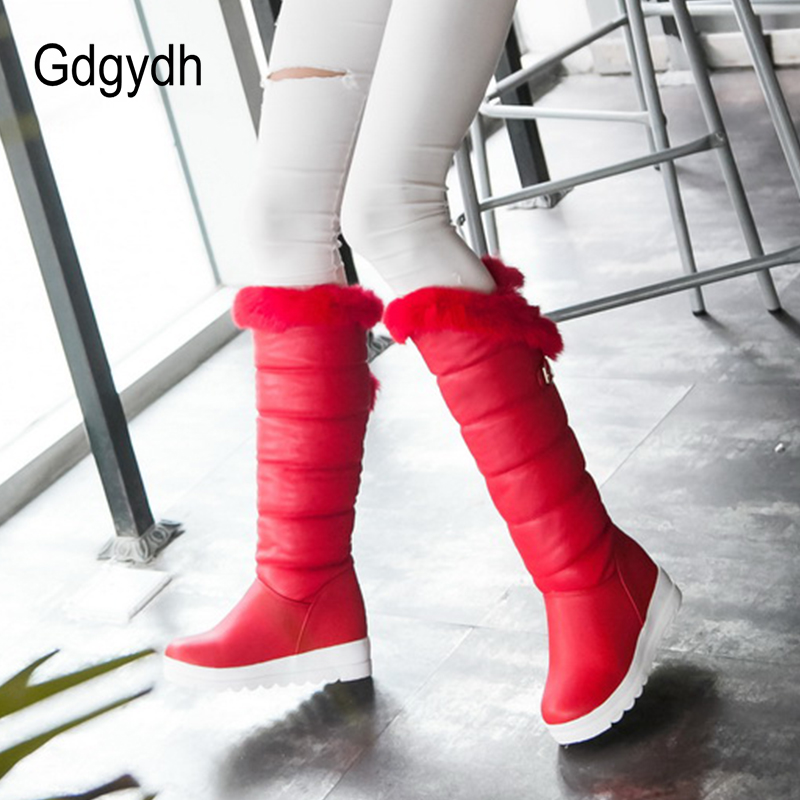 Gdgydh Knee High Boots Red Winter Shoes Warm Women Snow Boots Height Increasing Buckle Ladies Wedges Boots Plush Plus Size 42