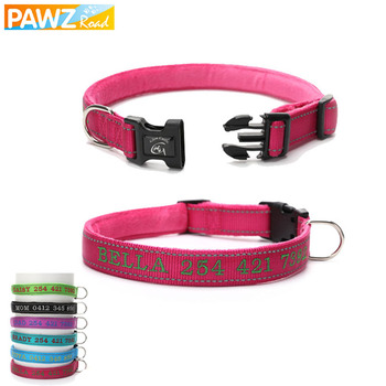 6 Colors Pet Dog Collars Reflective Personalized DIY Name Dogs Collars Nylon Adjustable Breathable Embroidered Anti-lost Collar