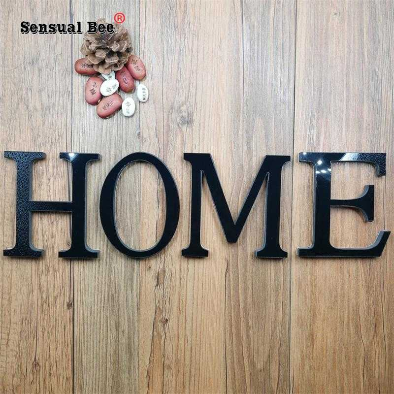 3D DIY English Letters Acrylic Mirror Surface Wall Sticker Black Alphabet Poster Home Decor Wedding Party Decoration Art Mural