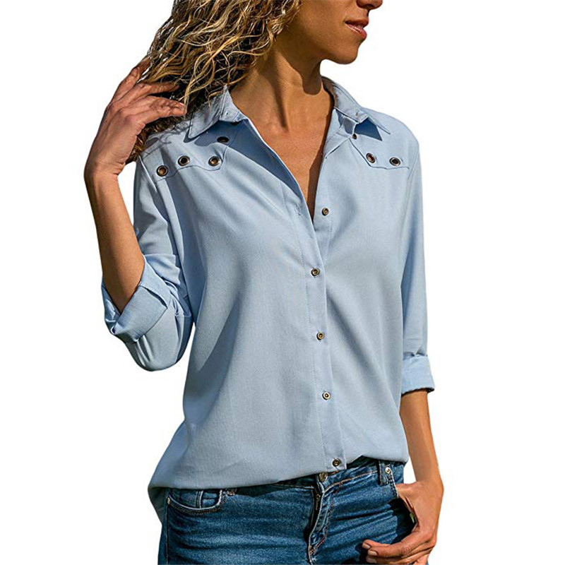 2018 Fashion Autumn Pure color V collar Eye buttonhole Long sleeves Chiffon   shirt   Women Top Female   Blouse     Shirt