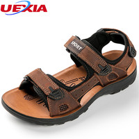 UEXIA 2018 High Men Sandals Split Leather Beach Roman Walking Men Casual Shoes Slippers Sneakers Fashion Summer Beach Breathable