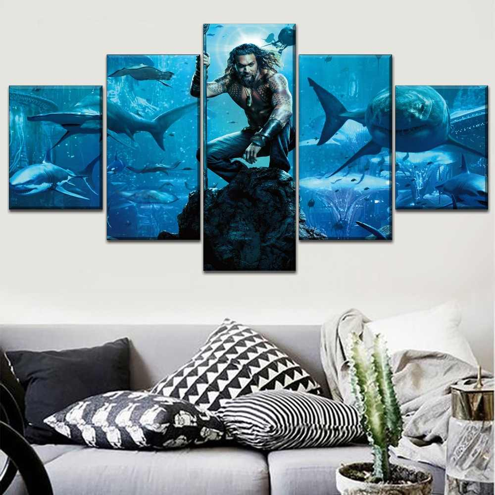 Home Decor Modular Pictures One Set 5 Pieces Aquaman Movie Modern Prints Type Poster Wall Art Canvas Painting For Gift Artwork