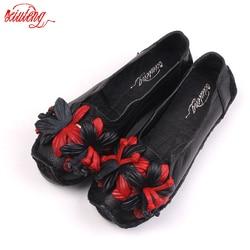 Xiuteng New National Wind Flowers Handmade Genuine Leather Shoes Women Retro Soft Bottom Flat Shoes Summer Canvas Ballet Flats 2