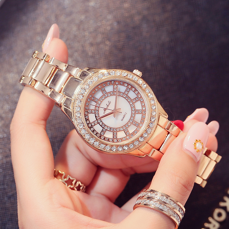 Mashali 2018 Fashion Rose Gold Female Rhinestone Watch Casual Luxury Brand Women Watches Bracelet Dress Ladies Quartz Wristwatch brand new 2016 fashion ladies casual watches rhinestone bracelet watch women elegant quartz wristwatch silver clock