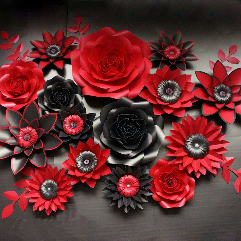 black with red artificial cardboard paper rose flower wall