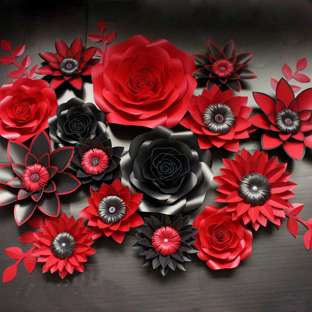 Black with red artificial cardboard paper rose flower wall event black with red artificial cardboard paper rose flower wall event decoration wedding flower backdrop mightylinksfo