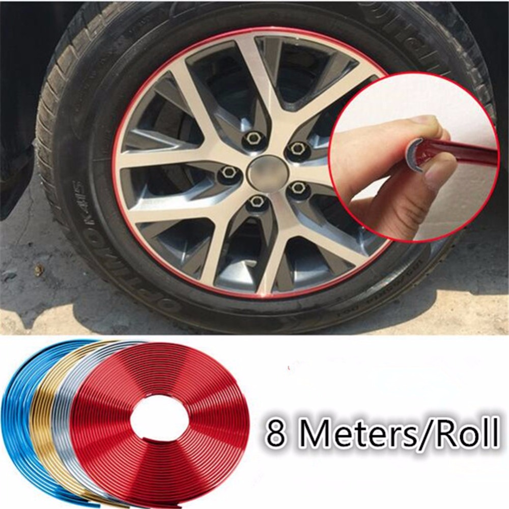 Car Wheel Rim Tire Protection Sticker Car Styling Wheel Hub Tire Sticker Strip DIY Light Frame Decoration Tape 8meter/roll 16 strips motorcycle accessories 7 colors car styling decals 17 or 18 inch car stickers wheel rim sticker reflective tape