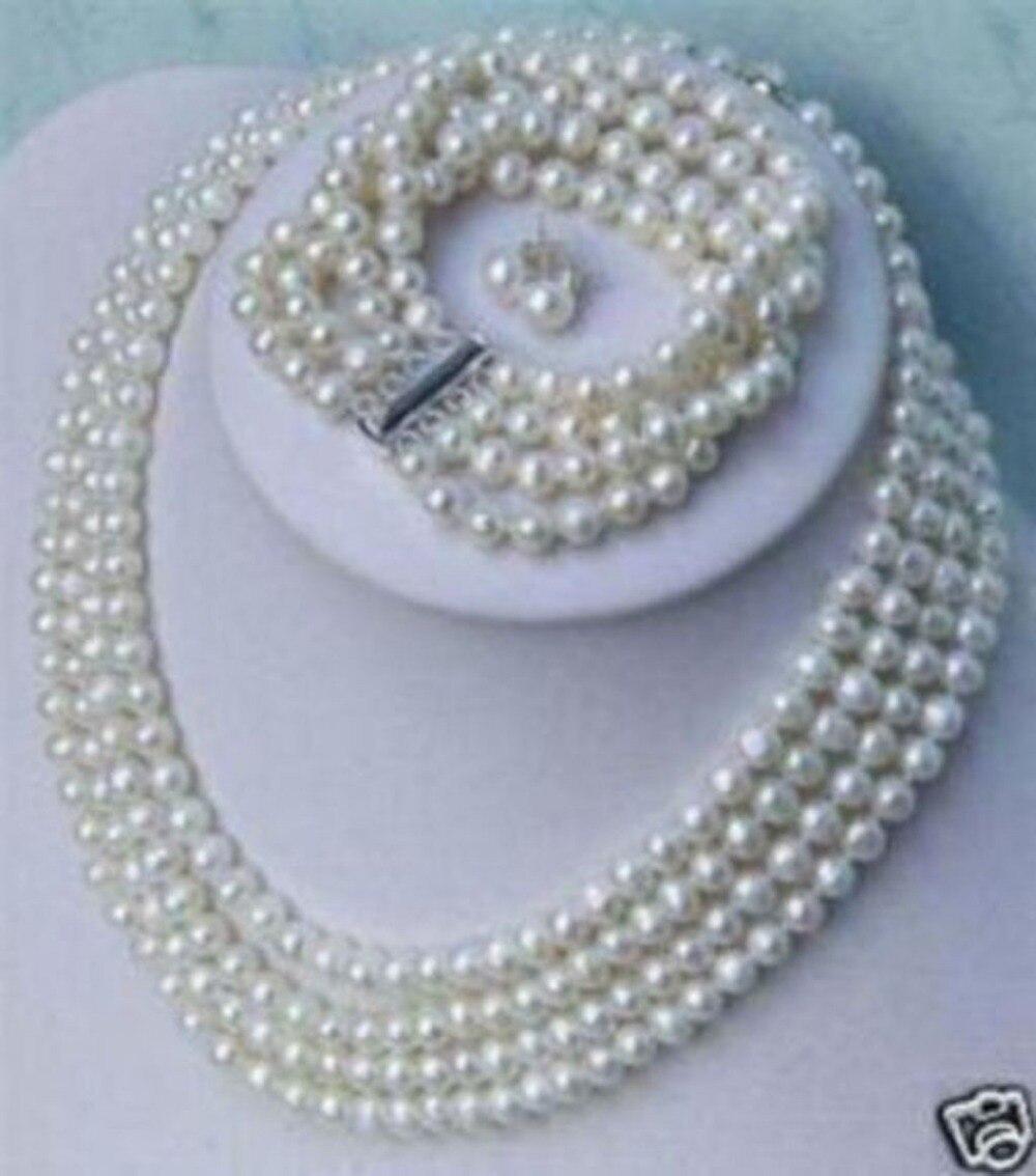 Charmant collier de 4 rangées de perles blanches naturelles, Bracelet, boucles d'oreilles, ensemble de bijoux 6-7 MM