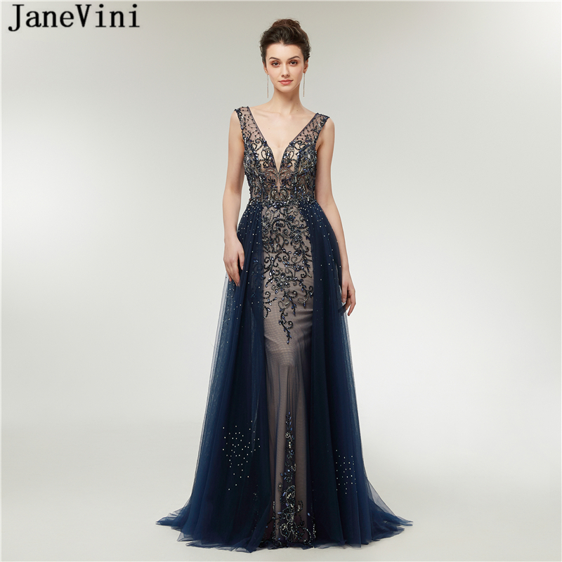 JaneVini Luxury Beading Crystal Long   Bridesmaid     Dresses   Sexy Deep V Neck Backless Sweep Train Illusion Tulle Mermaid Prom Gowns