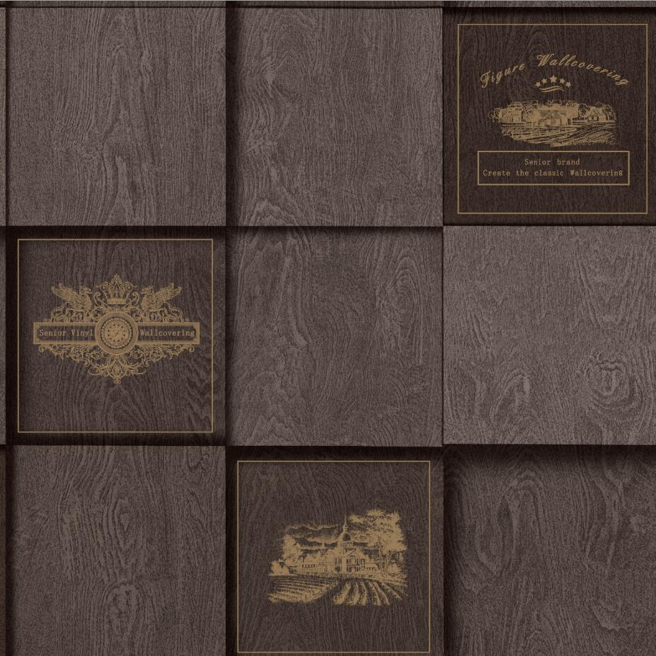 3d american style grid wood wallpaper waterproof pvc vinyl - American tin tiles wallpaper ...