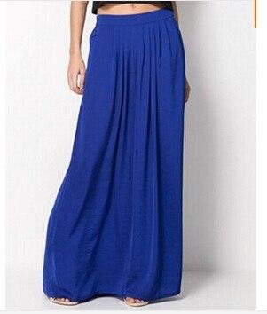 Женская длинная юбка в стиле знаменитостей пастельных конфетных цветов, плиссированная юбка размера плюс для женщин, юбки синего, зеленого, розового, красного цветов - Цвет: Синий