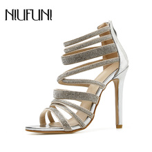 Fashion Sexy Rhinestone Women's Sandals 2019 Summer New Roman Shoes Nightclub High Heels Stiletto Temperament Hollow Ladies Shoe spring fashion roman hollow out super high heels sandals nightclub big yards of shoes 17cm