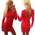 Autumn 2015 Winter Dress Women Bodycon Dress Red Black Pink Sexy Long Sleeve O-neck Back Zipper Club Mini Dresses Plus Size