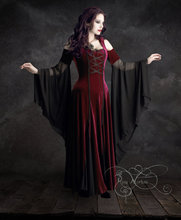Imaginaerum Hooded Dress – Red Riding Hood Dress, Romantic Gothic Dress, Elven Dress in Velvet and Mesh / Lacing