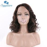 Sapphire Włosów Brazylijski Luźne Fale Ludzkich Włosów Peruki 16 Cal 188g Naturalny Kolor Dla Czarnych Kobiet Remy Ludzki Włos Koronki peruka
