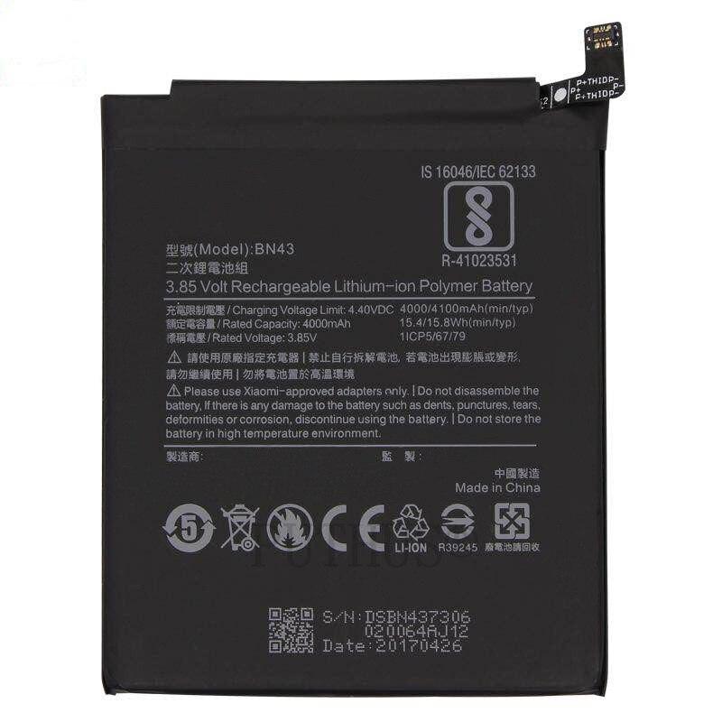 Bateria de telefone embutido replaceme baterias bn43 para xiaomi redmi nota 4x4 x/nota 4 global snapdragon 625 + ferramentas gratuitas