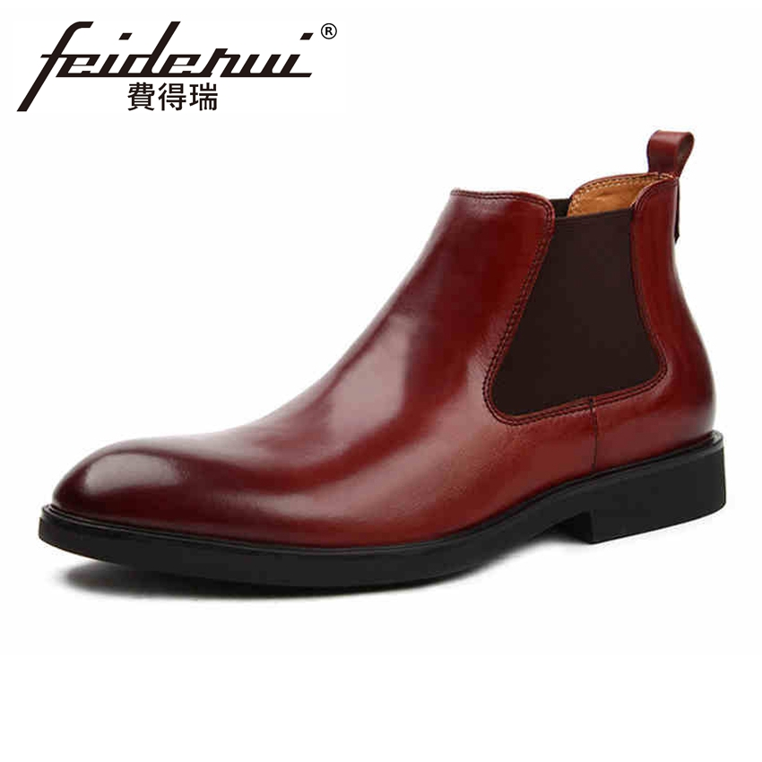 Fashion Genuine Leather Men's Chelsea Ankle Boots Classic Round Toe Platform Handmade Cowboy Riding Martin Man Shoes YMX302 high quality genuine cow leather men s high top chelsea ankle boots round toe handmade cowboy riding man platform shoes ymx15