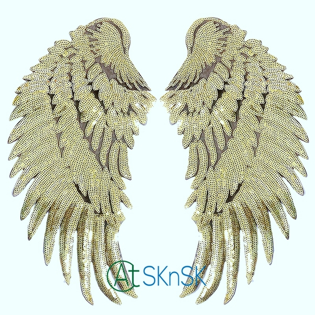 1833 Cm Angel Wings Patches Applique Embroidery Gold Color Wings