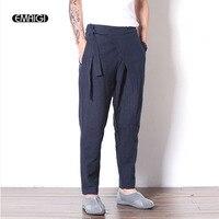 Men Fashion Casual Cotton Linen Black Blue Pant Elastic Waist Male Street Fashion Punk Harem Pant