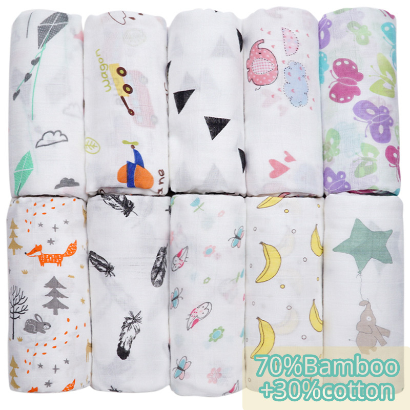Bamboo Cotton Flamingo Cartoon Animal Print Muslin Infantil Baby Blanket Newborn Swaddle Wrap Baby Bath Towel Baby Bed Stuff