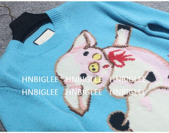 L Pullover Ziwwshaoyu Schwein Fr ssige Mode Pullover Jacquard Oansatz Pullover 2019 Cartoon 5AjLqR34