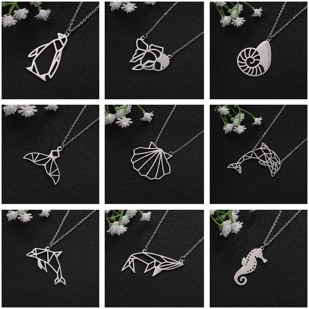 Teamer Sea Animal Pendant Necklace Women Cute Whale Tail Goldfish Shell Dolphin Penguin Seahorse Stainless Steel Beach Jewelry