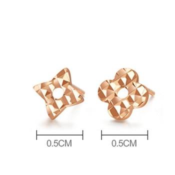 VOJEFEN 18K Rose Gold Star and Flower Stud Earrings for Women and Men Gold Asymmetry Earrings Flower Star CZ Small Earrings 2