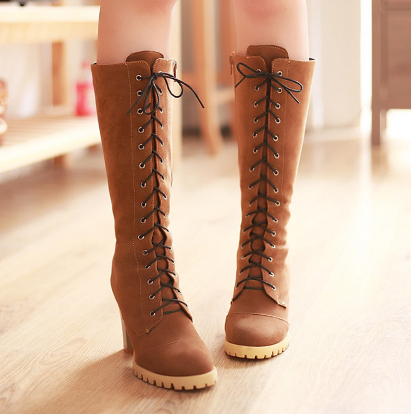 Lace-Up Square heel Fashion Women Boots Flock Shoes Platform boots for Women Motorcycle  Winter Shoes Mid-Calf women big