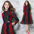 Europe Station 2017 New Exquisite Embroidery Lace  hit blue green and red strip color matched elegant flower pattern lady Dress