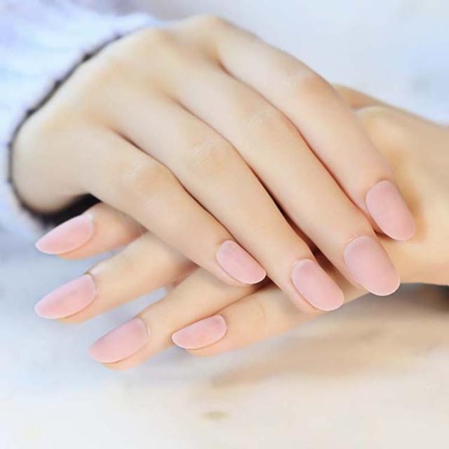 24PCS Set Elegant Ice Pink Matte Small Round False NailAcrylic Full Nails Tips