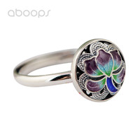 Chinese Style 925 Sterling Silver Enamel Lotus Flower Filigree Open Ring For Women Girls Adjustable Free