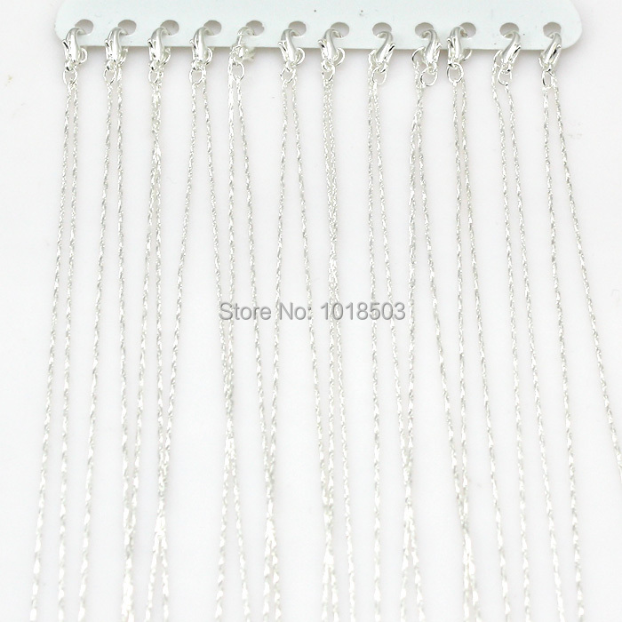16 (40cm) Quality Silver Plated Fine Chain Necklaces Chains Jewellery Making 12pcs