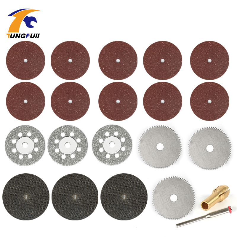 Tungfull Dremel Accessories 21ks Diamond Pile Blade Silver Woodworking Set Cutting Discs for Dremel Drill Fit Rotary Tool