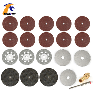 Tungfull Dremel Accessories 21pcs Diamond Saw Blade Silver Woodworking Set Cutting Discs For Dremel Drill Fit Rotary Tool