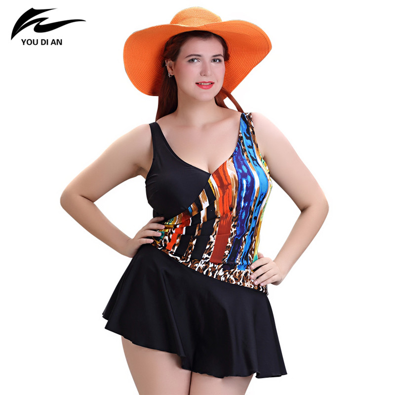 2017 Plus Size Swimwear Women Swimming Dress Sexy Large One Piece Swimsuit Push Up Beach Dress Patchwork Bathing Suit women one piece swimsuit cover up swimwear large size skirt swimming beachwear drape bathing suit 2017 plus size dress